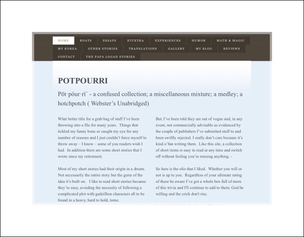 Screenshot of Potpourri website home