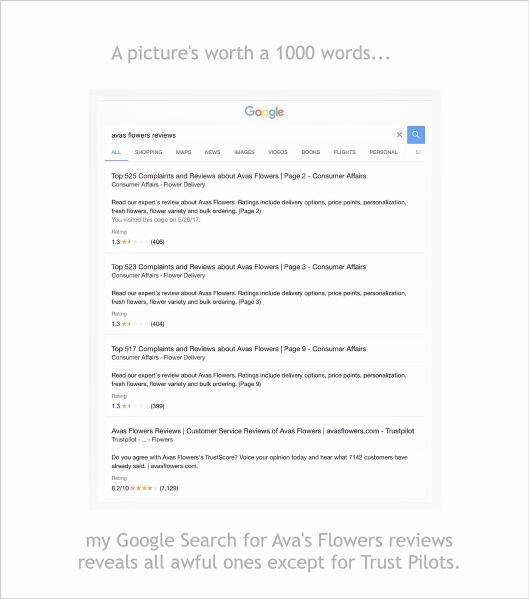 Ava's & Trust Pilot's Coalition - If you do a Google Search for Ava's Flowers Reviews you'll find that there are hundreds of negative reviews out there...the only ones that seem to be positive are Trust Pilots.