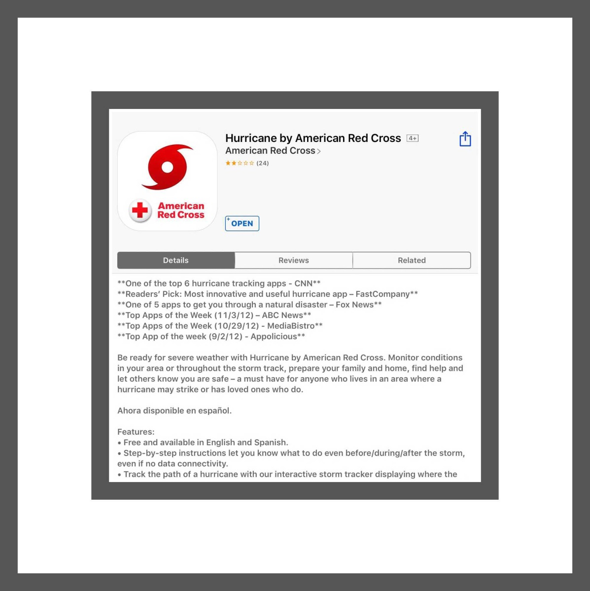 This is what the Hurricane by American Red Cross app looks like in the App Store.